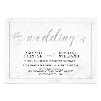 Typografie-Hochzeits-Zeremonie des Marmor-  Karte