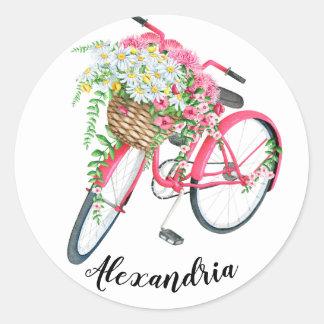 Typografie Ihr Namenszitat-Vintages Fahrrad Runder Aufkleber