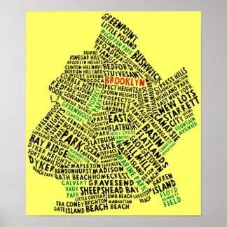 Typografie-Karte Brooklyns NYC Plakatdruck