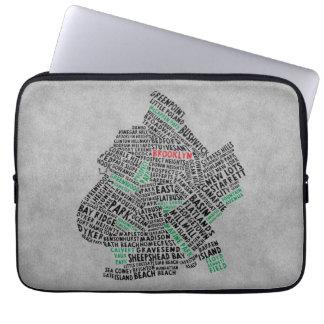 Typografie-Karten-Laptop-Hülse Brooklyns NYC Laptopschutzhülle