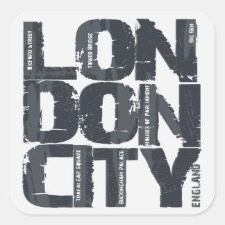 Typografie Londons, England Quadratischer Aufkleber