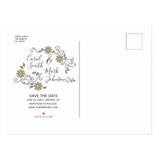 Typografie. Save the Date. Blumenhintergrund Postkarte