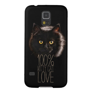 Typografie-schwarze Katzekitty-Katzen-Liebe 100% Galaxy S5 Hüllen