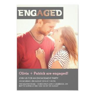 Typografie-Überlagerungs-Foto-Verlobungs-Einladung 12,7 X 17,8 Cm Einladungskarte