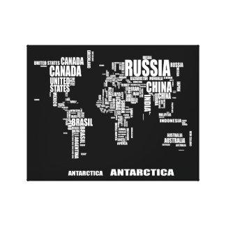 Typografie-Weltkarte Leinwanddruck