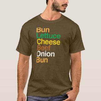 Typografische Anatomie von Cheeseburger T - Shirt