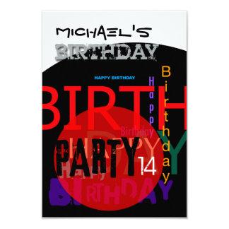 Typografische glückliche 14. Geburtstags-Party 8,9 X 12,7 Cm Einladungskarte
