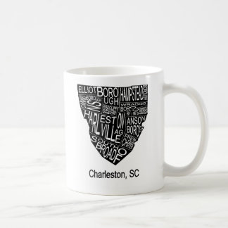 Typografische Karte von Charleston Kaffeetasse