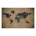 Typografische Weltkarte Plakat