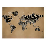 Typografische Weltkarte Postkarten