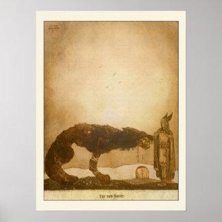Tyr und Fenrir durch John Bauer Plakatdruck
