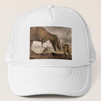 Tyrannosaurus, der am Triceratops brüllt - 3D Truckerkappe