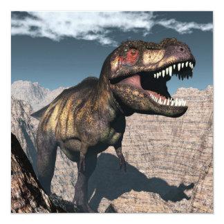 Tyrannosaurus rex, das in einer Schlucht brüllt Quadratische 13,3 Cm Einladungskarte