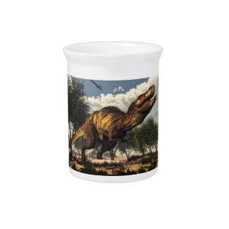 Tyrannosaurus rex Dinosaurier, der seine Eier Getränke Pitcher
