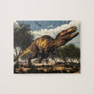 Tyrannosaurus rex Dinosaurier, der seine Eier Puzzle