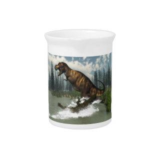 Tyrannosaurus rex Dinosaurier in Angriff genommen Krug