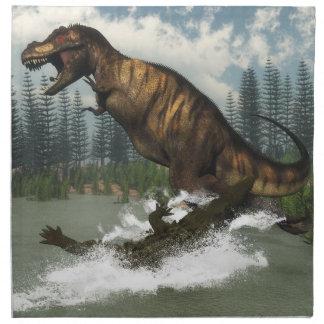 Tyrannosaurus rex Dinosaurier in Angriff genommen Stoffserviette
