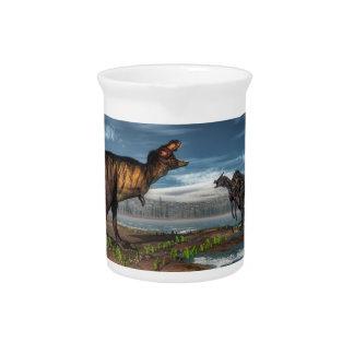 Tyrannosaurus rex und saurolophus Dinosaurier Getränke Pitcher