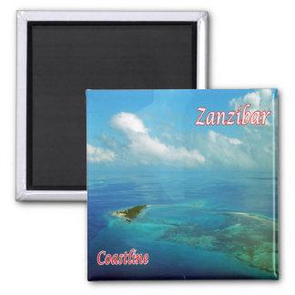 TZ - Tansania - Sansibar - Küstenlinie Quadratischer Magnet