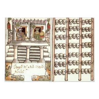 Tzompantli Schädel-Gestell-Azteke-Tempel 12,7 X 17,8 Cm Einladungskarte