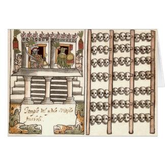 Tzompantli Schädel-Gestell-Azteke-Tempel Grußkarte