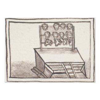 Tzompantli Schädel-Gestell-florentinischer Kodex 12,7 X 17,8 Cm Einladungskarte