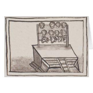 Tzompantli Schädel-Gestell-florentinischer Kodex Grußkarte