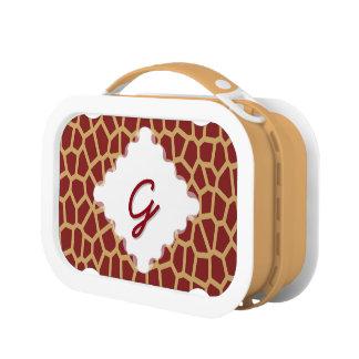 U-Auswahl Farbbrown-Giraffen-Druck in der Brotdose