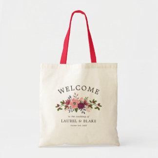 U. erröten Burgunder-Blumen, die Willkommen Tragetasche
