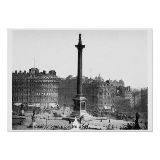 U.K. 1895 London-Straßenszene, Trafalgar-Platz Poster