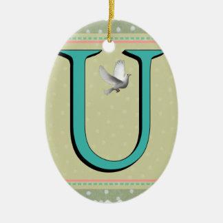 U-MONOGRAMM-BUCHSTABE KERAMIK ORNAMENT