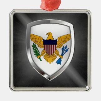 U.S. Die Jungferninseln-metallisches Emblem Quadratisches Silberfarbenes Ornament