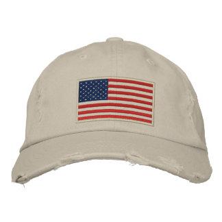 U.S. Flagge stickte beunruhigten Hut Bestickte Baseballkappe