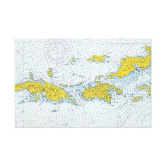 U.S. Jungferninselnseediagrammkarte Leinwanddruck