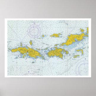 U.S. Jungferninselnseediagrammkarte Poster