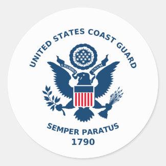 U S Küstenwache-Parade Runder Sticker