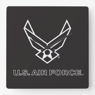 U.S. Luftwaffen-Logo - Schwarzes Quadratische Wanduhr