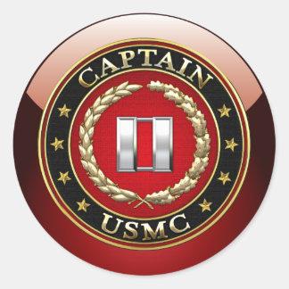 U.S. Marinesoldaten: Captain (USMC Kapitän) [3D] Runder Aufkleber