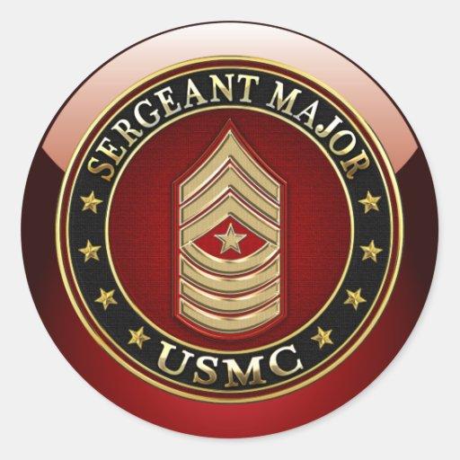 U.S. Marinesoldaten: Sergeant Major (USMC SgtMaj) Runder Aufkleber