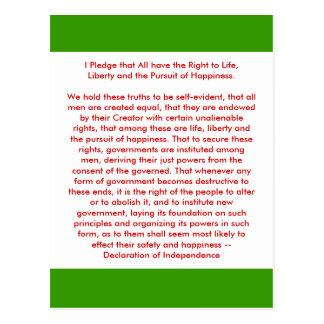 !!! U schaffen Unabhängigkeitserklärung Postkarte