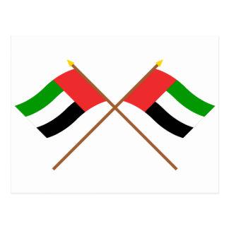 UAE und Fujairah gekreuzte Flaggen Postkarte
