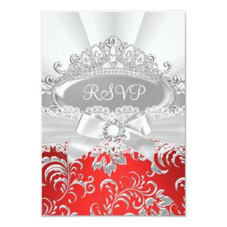 UAWG Antwort-hübsches Tiara-u. Bogen-Rot 8,9 X 12,7 Cm Einladungskarte