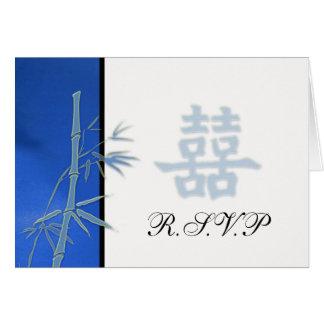 UAWG - asiatisches blaues doppeltes Glück-Hochzeit Karte