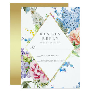 UAWG | blaue u. lila Watercolor-Blüte mit Gold Karte