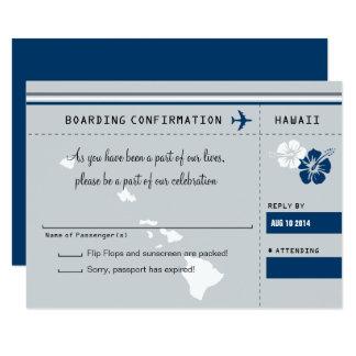 UAWG Boarding-Durchlauf ZU HAWAIIgrau und -BLAU 8,9 X 12,7 Cm Einladungskarte