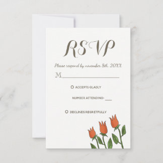 RSVP Wedding Floral Watercolor Spring White Pure