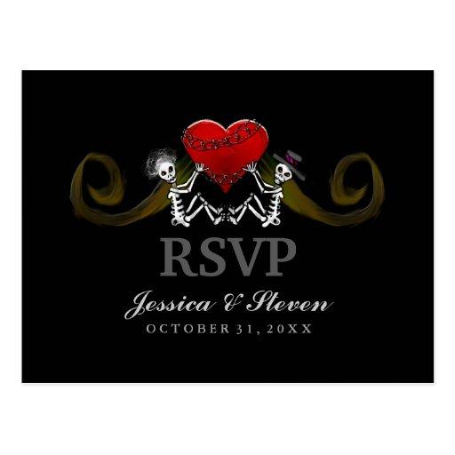 UAWG, das Postkarte - Skelette mit Herzen Wedding