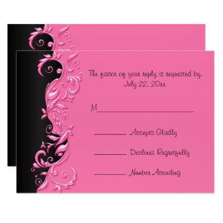 UAWG eleganter schwarzer und rosa blumiger 8,9 X 12,7 Cm Einladungskarte