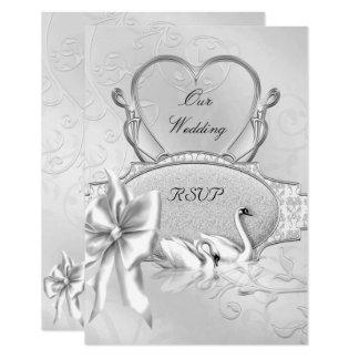 UAWG elegantes Hochzeits-Silber-weißer Karte