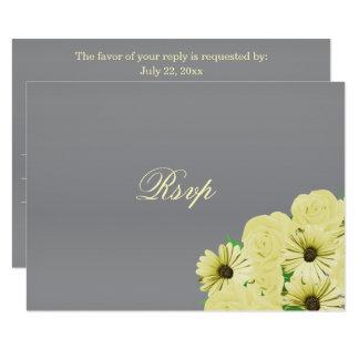 UAWG grauer Hochzeits-Satin und Pastellgelb Karte